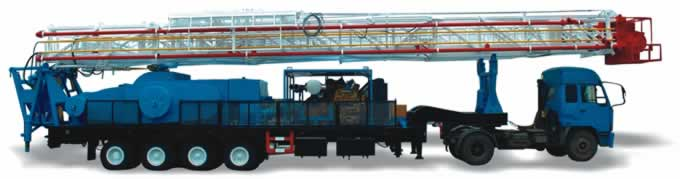 trailer-mounted drilling rig